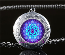 Mandala Photo Glass Tibet Silver Chain Locket Pendant Necklace#S13