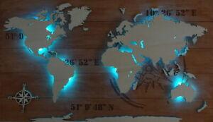 """Weltkarte aus Holz LED Beleuchtung 3D Effekt Deko Wandbild """"KOMPASS"""""""
