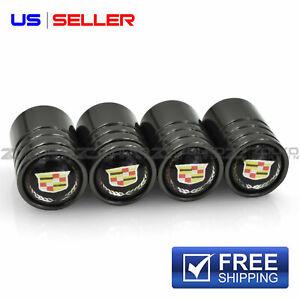 VALVE STEM CAPS WHEEL TIRE BLACK CHROME FOR CADILLAC  - US SELLER VE05