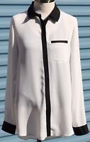 Free People Womens Long Sleeve White Career Button Front Small Blouse