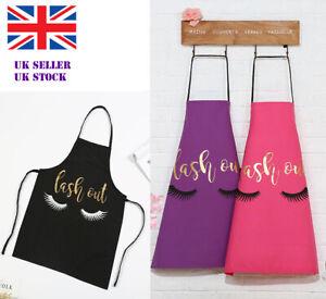 UK Women Ladies Bronzing Eye Lash Out Cotton Apron Cook Kitchen Beauty Gift