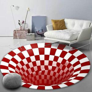 3D printed Round Vortex Illusion Pattern Anti-slip Carpet Floor Mat Door Mats #*