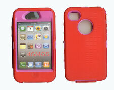 Built in Screen Protector Case / Cover for IPHONE 4, 4S  RED / HOT PINK