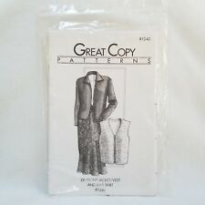 1997 Zip Front Jacket Vest and Bias Skirt Great Copy Sewing Patterns #1240