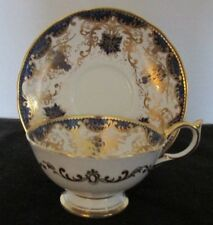 AYNSLEY BONE CHINA ENGLAND VFANCY BLUE GOLD GRAPES LEAVES CUP & SAUCER SET