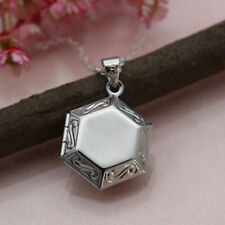 925 Silver Filled Empty Hexagon Design Pendant Chain Necklace Jewelry Xmas Gifts