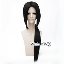 For Itachi Long Straight Black Men Hair Party Anime Cosplay Wig+80cm Ponytail