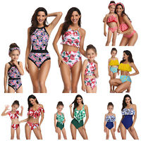 Family Matching Swimwear Mother Daughter Women Kid Baby Girl Swimsuit Bikini Set