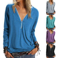 Womens Ladies Zip V Neck Baggy T Shirt Long Sleeve Blouse Casual Tunic Tops