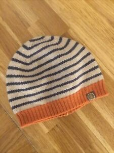 Joules Wool Knit Blend Bawdy Beanie Hat Womens One Size Navy Striped Knitted