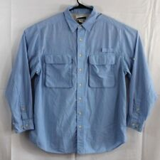 EXOFFICIO Mens Sz Large Blue Vented Shirt Button Front Long Sleeve Insect Shield