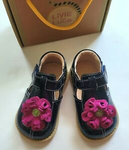 Livie & Luca NEW NIB 7 Navy Blossom Flower Patent Leather Shoes RM1-232
