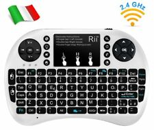 Rii Mini i8+ Wireless - Tastiera retroilluminata con mouse per Smart TV, Mini PC