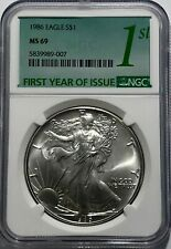 1986 Ngc Ms69 $1 Mint State Silver American Eagle 1 Oz .999 First Year Issue