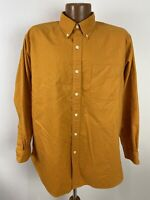 Vintage 90s J Crew Ochre Yellow Shirt Men's L Oversized Long Sleeve Button Down