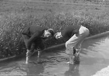 Vintage B&W 1920's - 1930's BETA PHI Frat Photo (Boys Playing In Flooded Street)