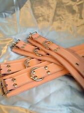 leather wrist & ankle Cuffs Baby Pink With D Rings .Bondage fetish