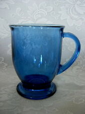 Collectible ANCHOR HOCKING Lt.Cobalt Blue Glass Footed Cup/ Mug - Made in U.S.A.