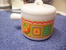 AVON White Milk Glass Sugar Dish & Lid  geometric design white orange yellow grn