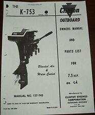 Clinton k753a  parts manual  owners manual on cd