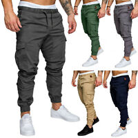 Men's Slim Fit Urban Straight Leg Trousers Casual Pencil Jogger Cargo Pants Male