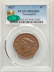 1827 1C N-5, R.2, MS63 Brown PCGS. CAC