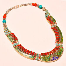Red Coral & Turquoise With Lapis Lazuli Creative Nepali Tibetan Necklace 18""