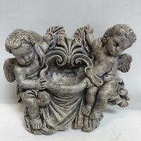 Cherub Angels Wall Plaque Figurines W/pocket Holy Water Holder Indoor Outdoor