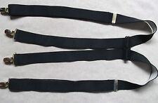 Braces Suspenders Mens Vintage CLIP ON 1970s 1980s PLAIN BLACK
