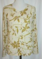 J.Jill Women's Cardigan Sweater Cream Green Floral Long Sleeve Top size medium