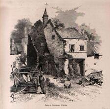 Stampa antica HOUGOMONT Battaglia Waterloo Belgio 1879 Old Print Ancien Gravure