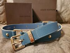 Authentic Louis Vuitton Blue Belt with gold studs & hardware - Womens US size 36
