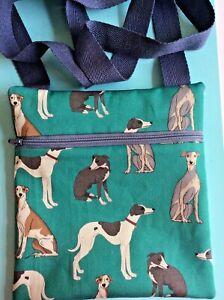 DOG walking  shoulder bag  WHIPPETS LURCHERS Handmade UK TREATS zip washable