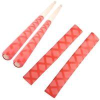2Pcs Mr. Power Drumsticks Anti-slip Grips Drum Stick Wrap Soft Handle Rapp Red