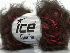 Raspberry Chocolate Eyelash Blend Yarn - Ice 49037 Soft Nylon 50gr 92yds