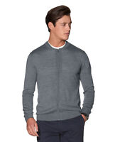 T.M.Lewin Mens Casual Grey Slim Fit Knitted Bomber Jacket