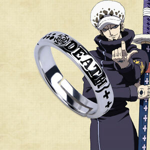 Hot Anime One Piece Trafalgar Law Ring Sliver Cosplay Gift Adjustable Ring
