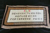 "Antique French Handmade ""Jehovah you are my refuge my fortress"" Tapestry Panel"