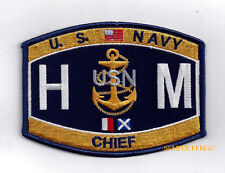 CHIEF HOSPITAL CORPSMAN HMC RATING HAT PATCH US NAVY USS USN DOC NURSE ENLISTED