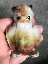 Schuco Noahs Ark Owl Miniature Dralon Plush Felt 6cm 3in 1960 no beak no Id Vtg