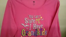 "Women ""you can't scare me"" Halloween LS T-Shirt Pink sizeM(8-10) 100% Cotton NWT"
