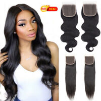 4X4 Free Part Black Straight &Body Weave Lace Closure Human Hair Hair Extensions