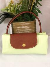 "LONGCHAMP Le Pliage ""Cabas"" Lime Green Nylon Brown Leather Trims Open Tote Bag"