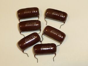 .22 MFd UF 200 V  POLYESTER MYLAR FILM CAPS CAPACITORS CONDENSERS PC LEADS USA