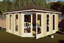 5-Eck Gartenhaus 40mm, 4x4M, 5 Eckige Blockhaus aus Holz, Emden EB40063L