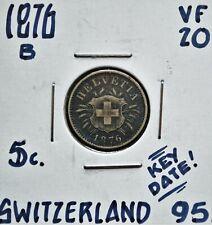 1876 B Switzerland 5 Rappen VF-20