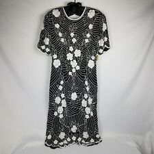 New Years Silk Dress Black & White Vintage Scala Beaded Sequin Cocktail  Size XL