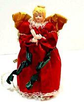"""Christmas Angel Lighted 9"""" Tree Topper Porcelain & Velvet Sweet Face"""