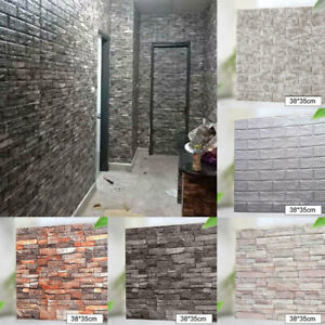 10pcs 3D Tile Brick Wall Sticker Waterproof Self-adhesive Foam Panel Wallpaper