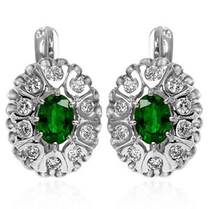 14k Solid White Gold Russian Antique Style Diamond Emerald Earrings 585